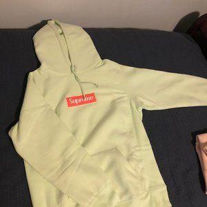 Pale Lime Supreme box logo hoodie